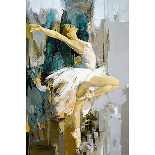 Cuadro en Lienzo de Bailarina, Artista Famoso Pintado, Pintura de Pared Abstracta para Chica de Ballet, Cuadros artísticos de Pared Modernos