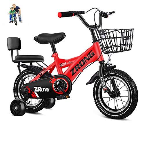 niños Bicicletas Bicicletas para niñas 12-14-16-18inch bike3-4-5-6-7-8-9-10-11-12year Bicicleta de Edad con Ruedas de Entrenamiento y Asiento Trasero Rojo Blanco Rosa Rosa