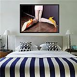 Póster en blanco y negro Sexy mujer pierna pintura lienzo cuadros para dormitorio decoración del hogar arte de pared Cuadros decoración salón 50x70 CM (sin marco)