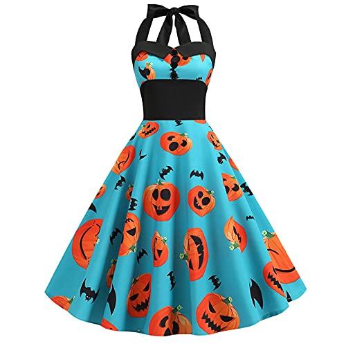 Hipeya Halloween Christmas Dresses Women's Vintage Long Sleeve Gothic Dresses Halter Sleeveless Corset Dress 50s Housewife Evening Party Prom Dress Blue