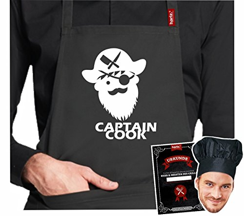 Rôtissoire.Tablier Hariz® de barbecue #Grill de la collection premium ; 24 motifs au choix ; noir, tablier avec certificat & toque, cadeau. #Grill16: Captain Cook