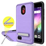 Wtiaw:Coolpad Illumina Case,Coolpad Legacy Go Case,Coolpad Illumina 3310A Case,Coolpad 3310A Case,Legacy Go 3310A Case,Brushed Metal Texture Kickstand Phone Case for Legacy go-HZ Purple
