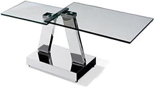 SHINE MOUNT Mueble de Cristal Templado Rectangular de Espejo de Acero Inoxidable para Mesa de Centro giratoria, Clear Silver, 1630*(920)*600 * 433