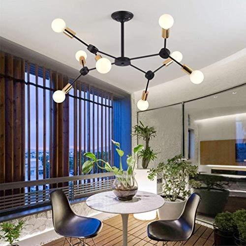 HOUTIAXDYT Chandelier de Metal Moderno diseño Simple lámpara Colgante Decorativa geométrica Molecular araña araña Negro e27 8 Llama max60w Restaurante Cocina