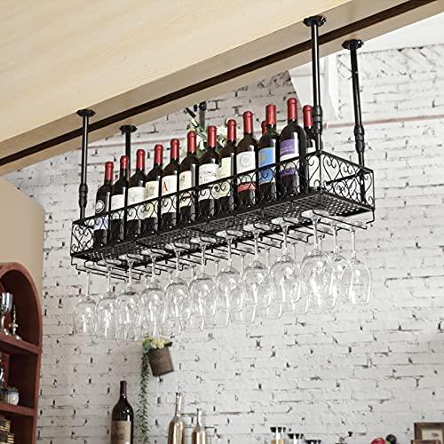 botellero vino Botellero para Vinos de Barra de Bar, Gabinete de Vino de Almacenamiento de Suspensión Colgante, Gabinete de Pared de Hierro Forjado de Bar de Restaurante, Soporte Creativo para Copa de