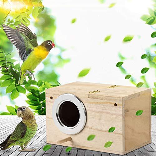Hölzerne Vogel Nistkasten, Einflugloch zum Aufhängen, Large Wood Bird House Stabiler Vogelhaus Vogelhäuschen Nisthaus für Meise Wellensittiche Rotkehlchen Nymphensittich Rotschwänzchen (Khaki)
