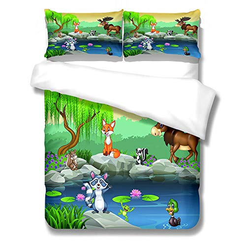 iCoCofly Bedding 3 Piece Set 1 quilt cover with 2 Pillowcase& Shrinkage and Fade Resistant for Kids Teens and Adults Soft Microfiber Hypoallergenic Bedding Set - 3D Animal World,Double 200x200cm