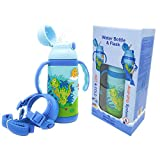 ABC KIDS UK - Double Walled Vacuum Insulated Water Bottle Flask with Straw, Handles and Strap All in One, Stainless Steel Thermo, Leak-Proof, BPA-Free, 12.8oz(380ml) - (Dinosaur Blue)