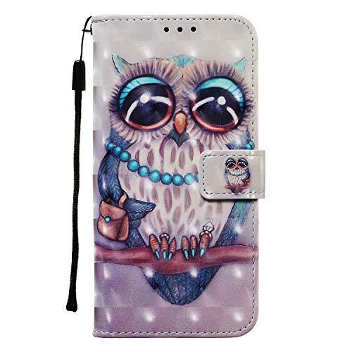 Draamvol Lederhülle für Samsung Galaxy A41 Hülle, Wallet Case Handyhülle Tasche mit Magnetverschluss, Flip 3D Schutzhülle Kartenfach Brieftasche Ledertasche für Samsung Galaxy A41,Eule