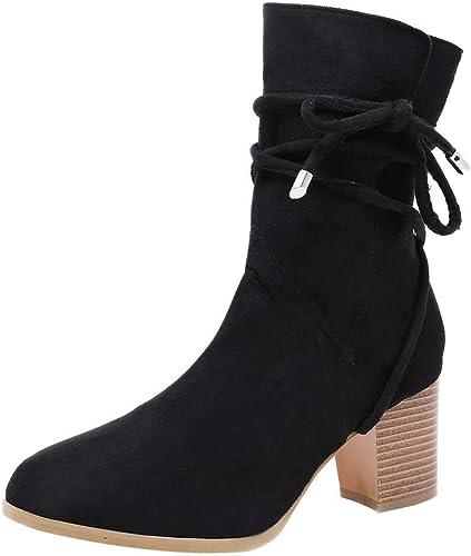 Fuxitoggo botas mujer zapatos Botines Moda mujer Color sólido Grueso con botas con Cordones botas de Medio Tubo para mujer (Color   negro, tamaño   41)