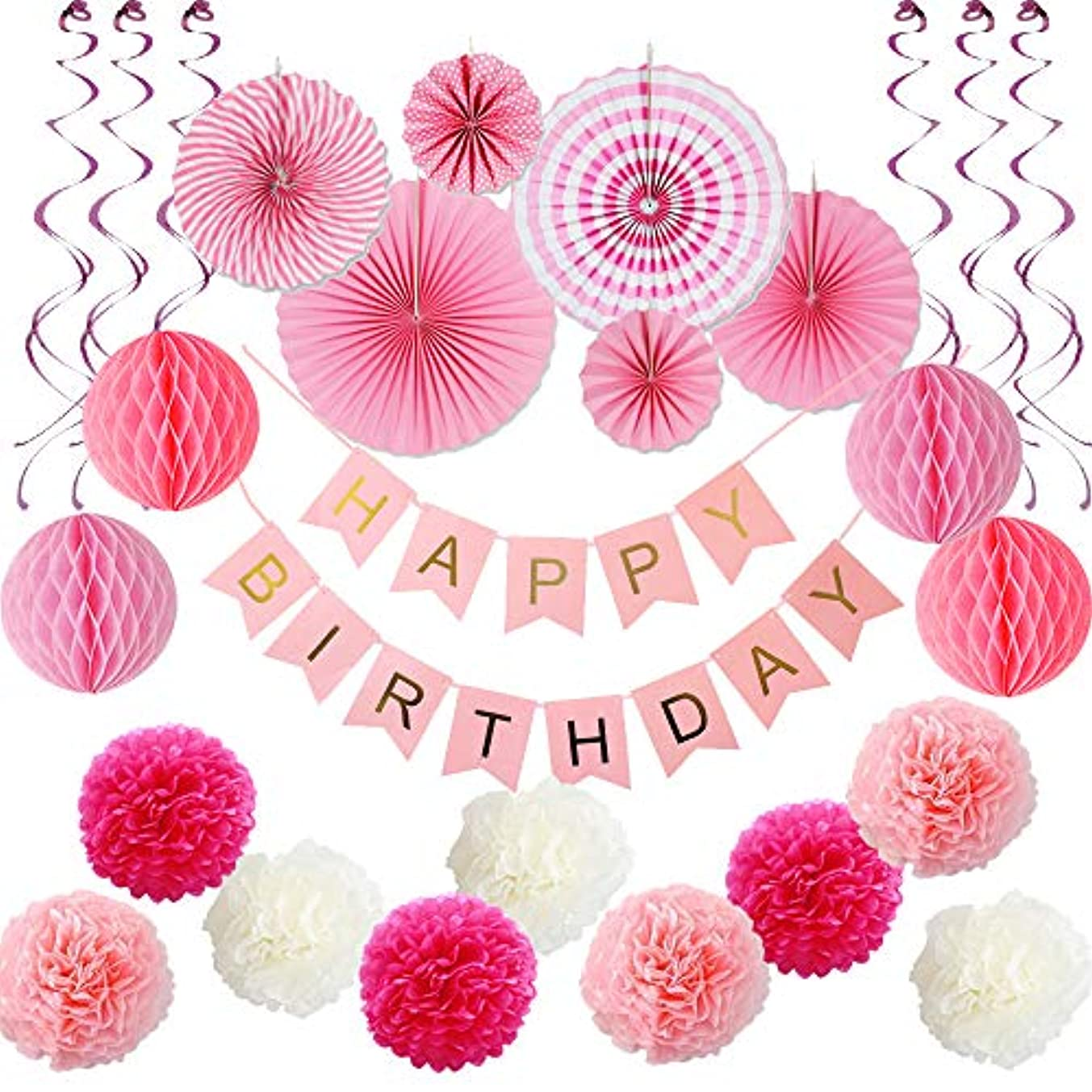Pink Birthday Party Decoration Set - Happy Birthday Banner, Pink Paper Fans, Tissue Paper Pom Pom, Honeycomb Balls, Pink Swirl Hanging Decorations - 38 Piece Girls Birthday Part Decor Kit