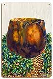 Pacifica Island Art Herencias de la Isla - Cuenco Hawaiano de Madera de koa, tapete de Lauhala, Lei de Hoja de ti - De Acuarela de Hawái de Peggy Chun - Letrero de Madera 20x30cm