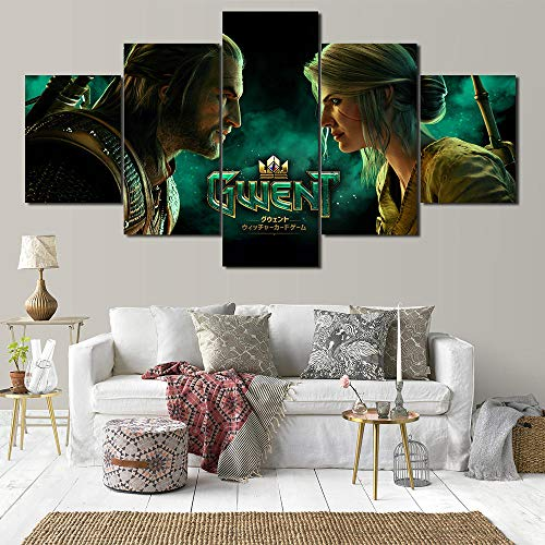 AQNY spel Wizard 5 panelen HD print canvas schilderij sjabloon woonkamer slaapkamer decoratie 40x60 40x80 40x100cm Frame