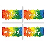 Relax Soak Breathe Unwind Wall Art Prints - Unframed 8x10 in - Positive Quotes Colorful Decor Pic for Bathroom - Cute Signs Posters with Relaxing Sayings for Spa