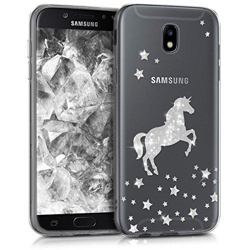 kwmobile Hülle kompatibel mit Samsung Galaxy J5 (2017) DUOS - Handyhülle - Handy Hülle Einhorn Silber Transparent