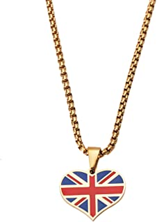 CB Gold Jewelry Stainless Steel UK Flag Pendant Heart Shaped UK The Union Jack Flag Pendant Necklace