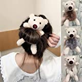 Plush bear hair rope,Cute cartoon animal ponytail headband, powerful elastic headband for ponytail holder, ladies and girls hair accessories, hair bundle (4 pieces)