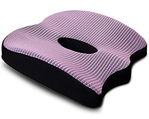 PDWZNBA Seat Cushion for Office Chair - Memory Foam Seat Cushion - Car Seat Cushion - Tailbone Pain Relief Cushion - Sciatica Relief Pillow (Purple)
