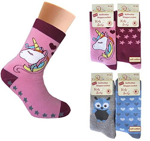 4 Paar Mädchen Thermo Socken mit ABS | Kinder Vollfrottee Strümpfe 31-34 / m