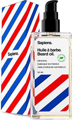 Huile Barbe 100% d'Origine Naturelle • 50 ml • FABRIQUÉE EN FRANCE • À base d'Huile de RICIN, 5 Huiles Végétales & Vitamine E • Favorise la Pousse de la Barbe • Entretien & Soin Barbe par Sapiens
