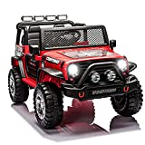 AUXSOUL 12V Ride On Truck for Kids - 2 Seats Electric Ride on Car with Remote Control - Rechargeable Toy Vehicle with LED Lights, Bluetooth, Radio, AUX Port( Red)
