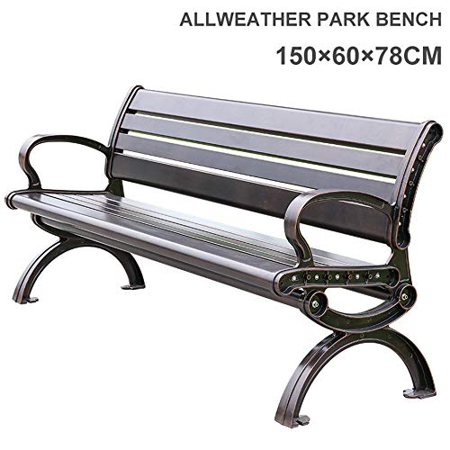 Household items Garden Bench Outdoor Leisure Bench, Stable cast Aluminum Park Chair seat for 3 People, Weatherproof and Weatherproof Metal Benches for terraces, for Balcony/Lawn/Porch 150x60x 70cm