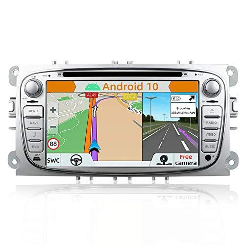 YUNTX Android 10 Autoradio para Ford Focus/Mondeo/S-MAX/Connect (2008-2011) | 2 DIN |Cámara Trasera y canbus Gratis| 7 Pulgada | 2GB/32GB | Soporte Dab+ | 4G | WLAN | Bluetooth | MirrorLink (Silver)