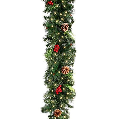 XCYY 1,8/2,7 M Árbol Artificial De Navidad del Ornamento De La Guirnalda Chimenea Garland Pino De Navidad De Bricolaje Colgantes Guirnaldas Rattan Decoración (Color : 1.8M with LED Light)