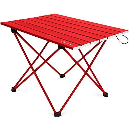 Moon Lence キャンプテーブル アルミ ロールテーブル アウトドア ハイキング BBQ 折りたたみ式 コンパクト 超軽量 収納袋つき S