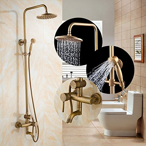 Buy Discount Shower mixer Antique Brass Shower Faucet Set Shower Head Hand Shower Sprayer Wall Mount...