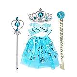 thematys Set Princesa Diadema Guantes, Joyas y Varita mágica - Set para niños complemento Carnaval y Cosplay (Turquesa)