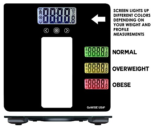 GoWISE USA Body Mass Index Scale with Three Color LCD Indicator - 440 LBS Capacity Tempered Glass GW22039