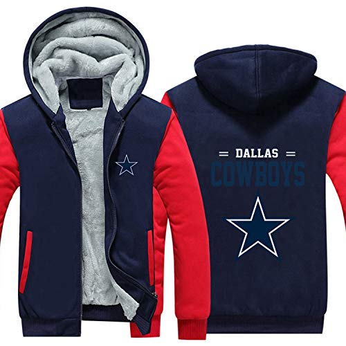 XZWQ Herren Hoodie - Dallas Cowboys American Football Jersey Pullover Bequemer Langarm Double Thicken Plus Fleece Zip Rugby Hoodie,C,2XL