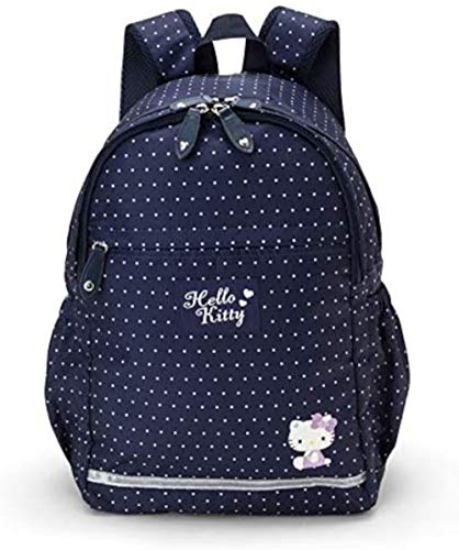 MARUSHIN Sanrio Casual School Backpack L Size Hello Kitty Navy Blue with Dots 219908