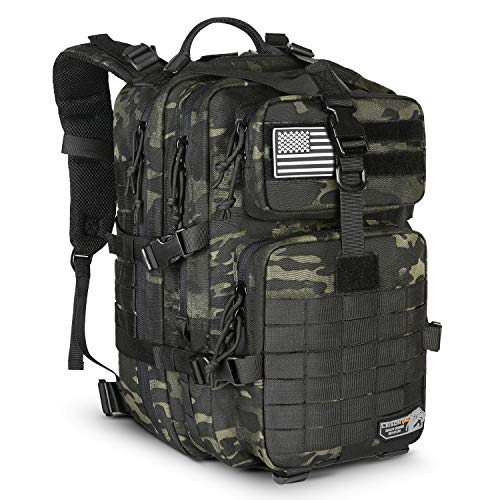 LeisonTac Tactical Backpack with Military ISO Standard for Army Hunting Hiking Travel Camping (Black Multicam)
