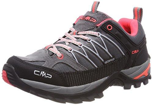CMP Campagnolo Damen Rigel Low Wmn Shoe Wp Trekking- & Wanderhalbschuhe, Grau (Grey-Red Fluo), 38 EU