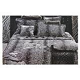 Roberto Cavalli Juego de sábanas para cama de matrimonio de raso de puro algodón, fabricado en Italia, art. Tiger Leopard – Negro, 2 plazas