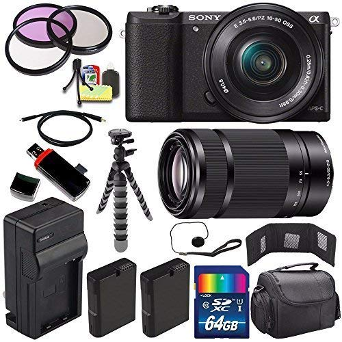 Sony Alpha a5100 Mirrorless Digital Camera with 16-50mm Lens (Black) + Sony E 55-210mm f/4.5-6.3 OSS E-Mount Lens 64GB Bundle 24 - International Version (No Warranty)