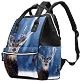Mochila multifunción grande para pañales de bebé, mochila de viaje para mamá y papá, ciervos nobles en invierno bosque de nieve
