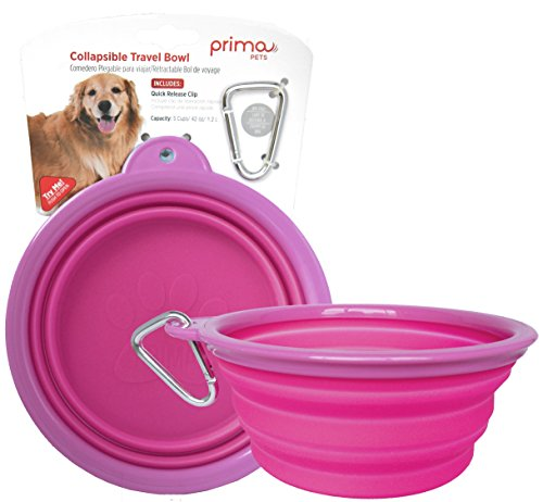 Prima Pets Collapsible Silicone Water Travel Bowl with Clip for Dog and Cat, Portable and Durable Pop-up Feeder for Convenient On-The-go Feeding – Size: Large (5 Cups) Pink
