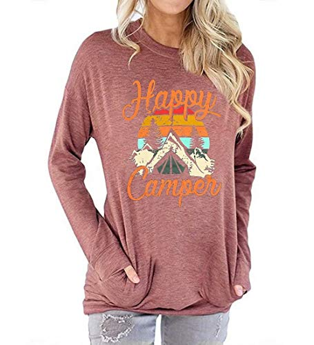 YAXIYA Women's Happy Camper Long Sleeve Shirts Tops Graphic Tees Sweatshirt Pullover Hoodie Gray Large