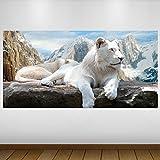 LagunaProject Extra Grande Leones Blancos de Las montañas de Vinilo de Vida...