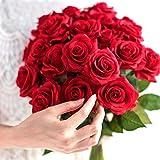 10 piezas rosa roja flores de látex verdadero toque de flores artificiales de imitación falsa de silicona rosa ramo decorationfor fiesta de la boda la decoración del hogar de la flor