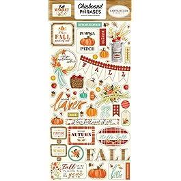 Carta Bella Paper Company Fall Market 6×13 Phrases chipboard, orange, red, teal, cream, brown, green