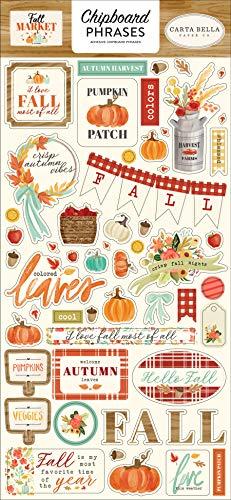 Carta Bella Paper Company Fall Market 6x13 Phrases chipboard, orange, red, teal, cream, brown, green |