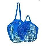 Portable Reusable Grocery Bags for Fruit Vegetable Bag Cotton Mesh String Organizer Handbag Short Handle Net Shopping Bags Tote L-25x35x38cm Blue07