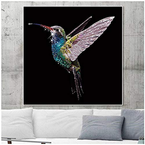 LKLKK Wall Art Canvas Painting Animal Poster en Print Bird Picture Painting Plant Mural of Living Room 60x80cm (framboos)