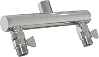 HAOXIN Double Outlet Shower Manifold with Shut Off Valve,Suitable for Dual Sprayer Showering System,Chrome,STC03