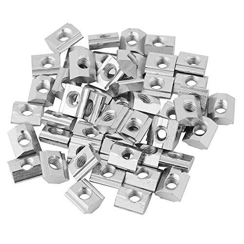 50pcs Nutenstein Europäischer Standard Kohlenstoffstahl Schiebe T Nut Mutter für Aluminiumprofil Zubehör (20Typ-M5)