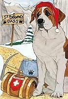 Saint Bernardクリスマスカード: 10Holiday Cards withレッド封筒–Adorable 。